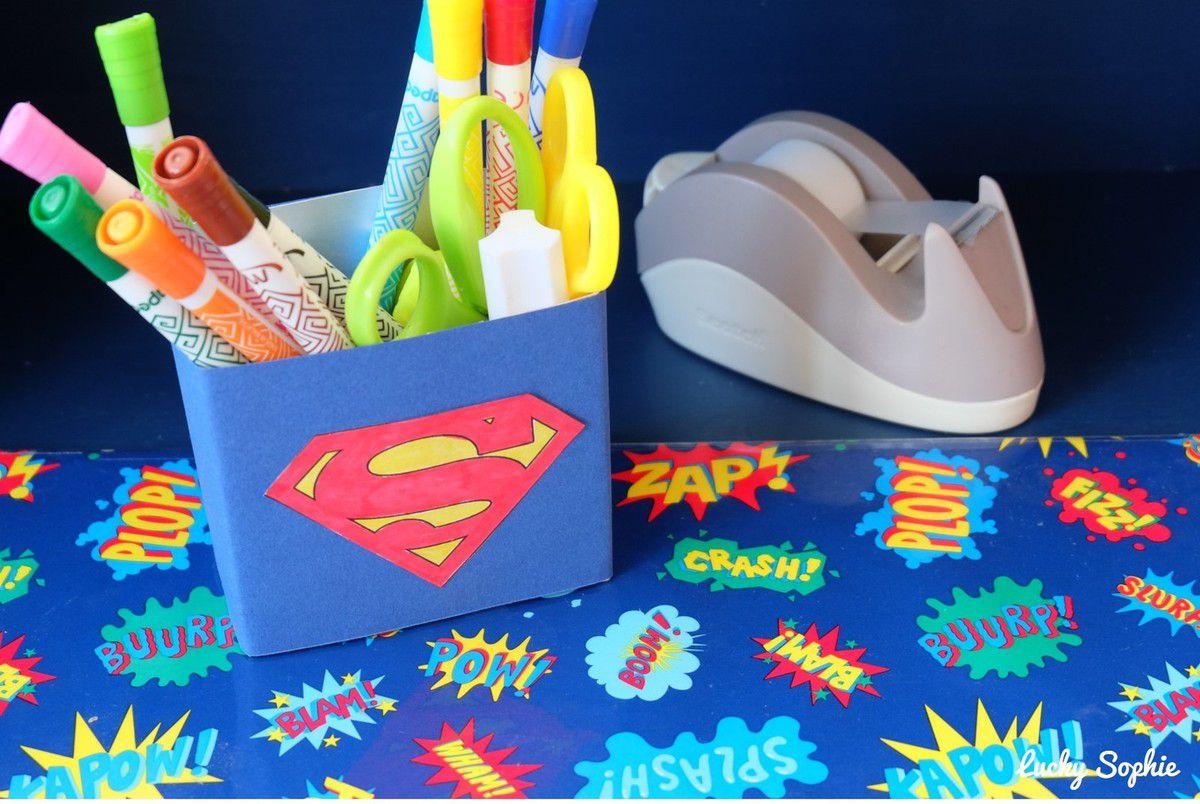 Pot à crayons Super Héros DIY récup