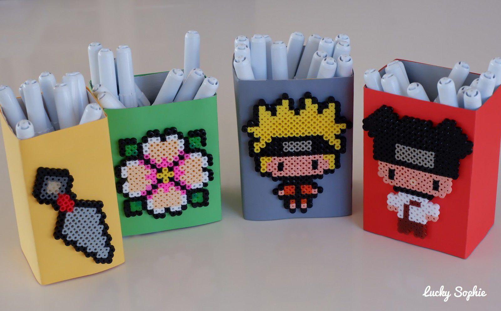 Pots à crayon Naruto en perles à repasser