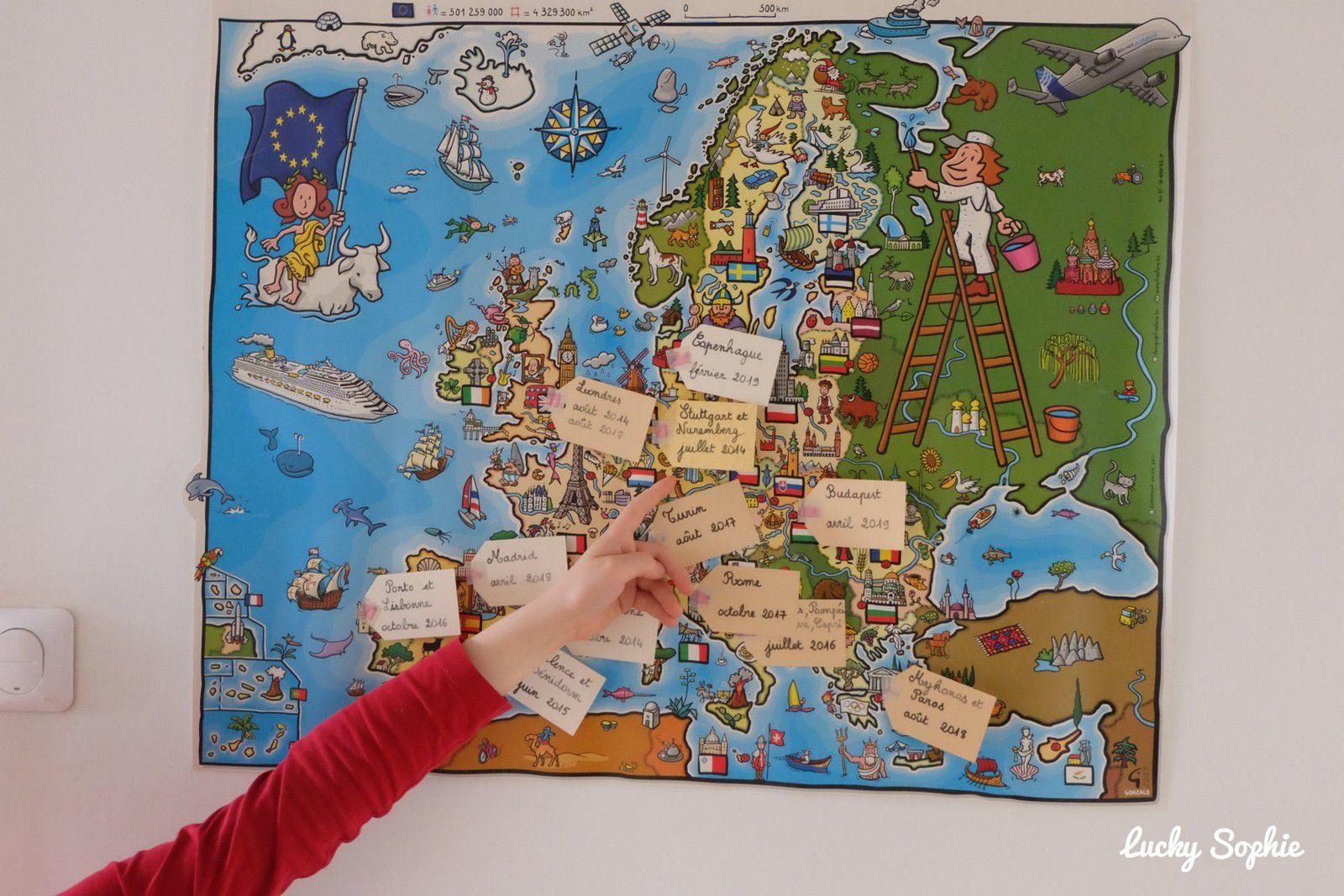 La carte de nos voyages en famille