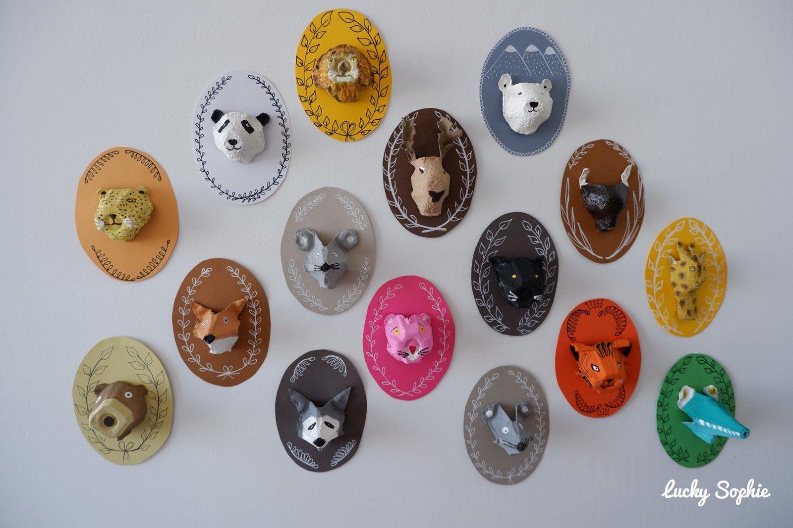 Trophées animaux en boîtes d'oeufs