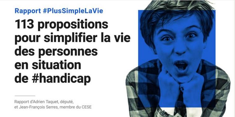 """Simplification du parcours administratif des personnes en situation de handicap - Rapport """"Plus simple la vie"""" mai 2018"""