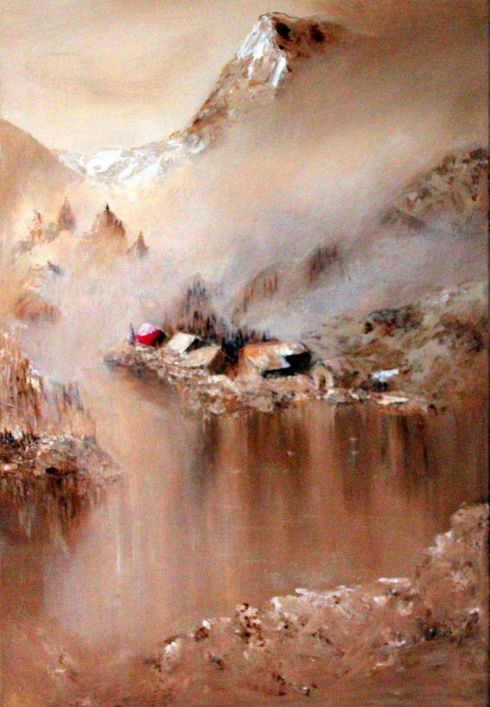 Village de montagne peint à l'acrylique monochrome sépia sur toile