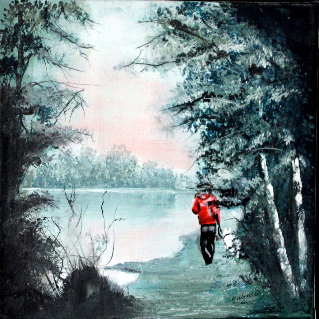 Un promeneur et son chien, errant le long du Lac des Illettes, peints à l'acrylique.