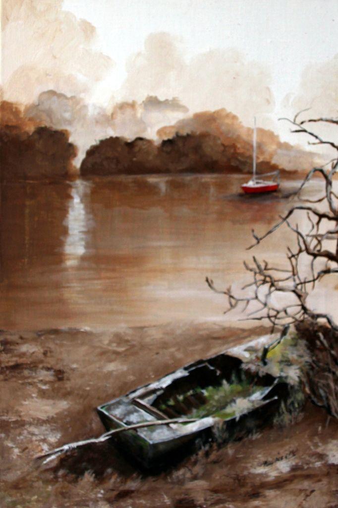 Une barque, abandonnée dans la Baie de Saint-Brieuc, peinte à l'acrylique en monochrome sépia