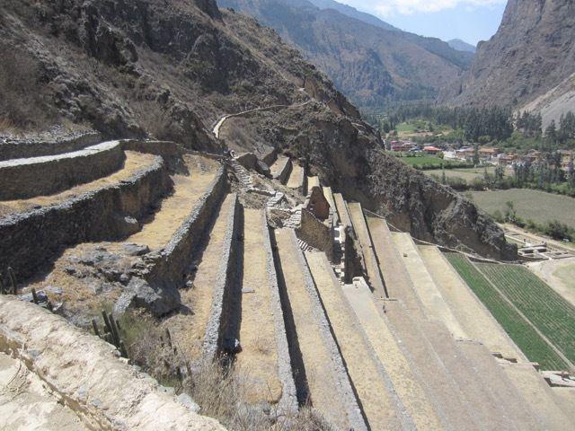 terrasses agricoles, avec des rigoles pour canaliser l'eau