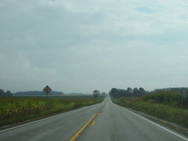 longues lignes droites bordees de champs de maïs