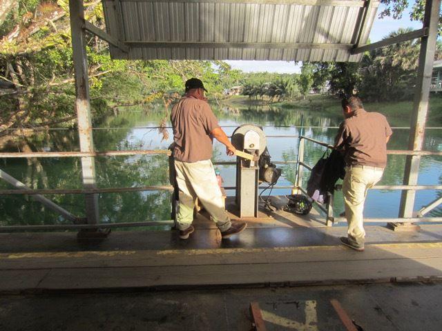 le traversier a energie humaine sur la riviere Mopan