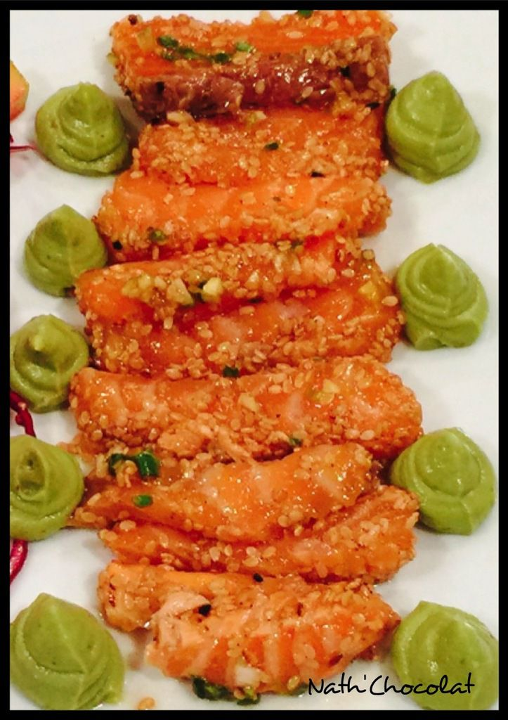 Tataki de saumon et crème d'avocat