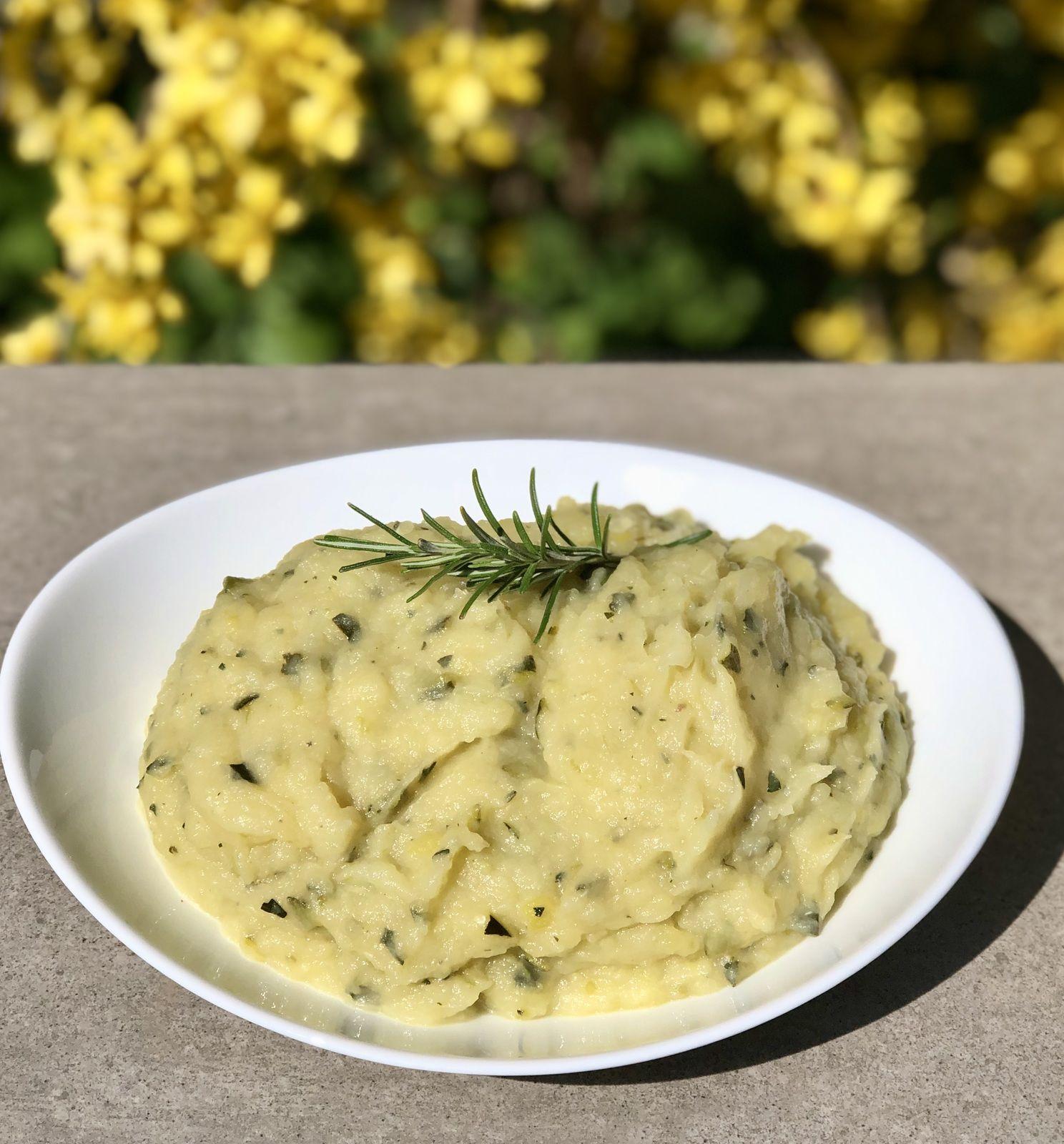 Purée pommes de terre et courgettes et basilic