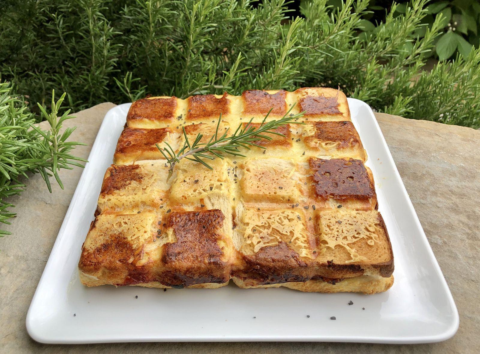 Croque quiche courgettes féta, mozzarella et jambon cru