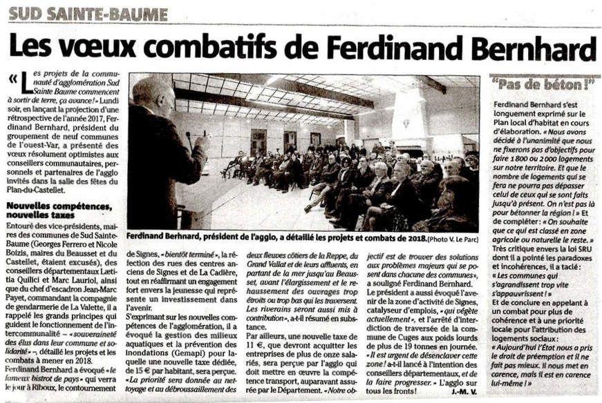 M. FERDINAND BERNHARD, PRÉSIDENT de la COMMUNAUTÉ D'AGGLOMÉRATIONS SUD SAINTE-BAUME, COMBATIF !