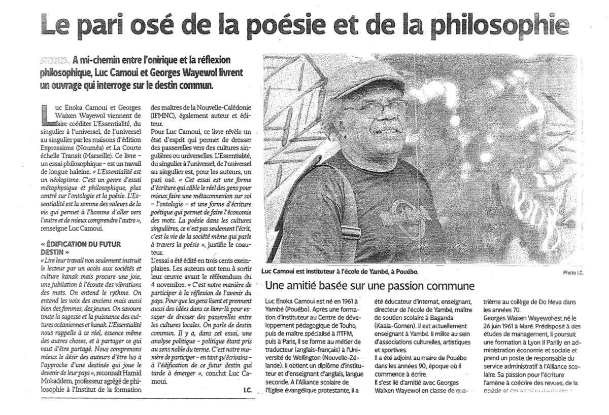 """L'Essentialié : un article des """"Nouvelles calédoniennes"""""""