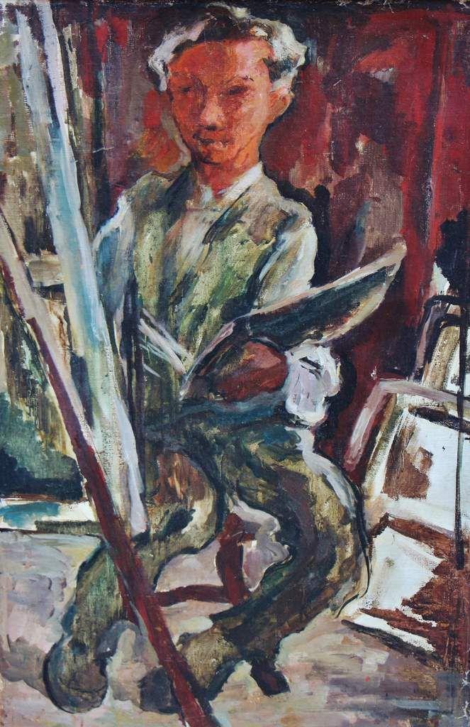 David Seifert (1896 - 1980), le peintre au chevalet - autoportrait - 1926, huile sur toile, signée, 100 x 62 cm. Exposition Japon 1994 ; Mairie du VI ème arrondissement de Paris 1998.