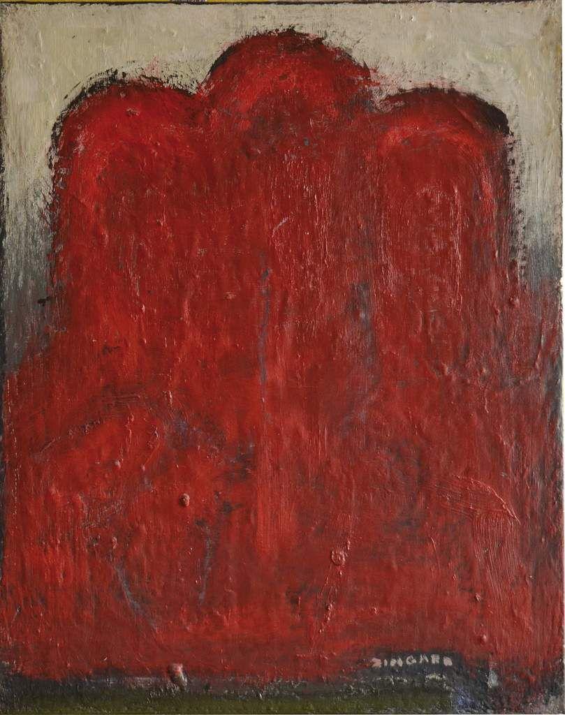 L'Ombre rouge, 2007, huile, signée, 100 x 81 cm.