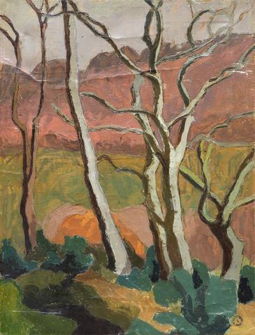 Maurice Le Scouëzec (1881 - 1940), Grands arbres d'hiver, huile sur papier, 72 x 54 cm.