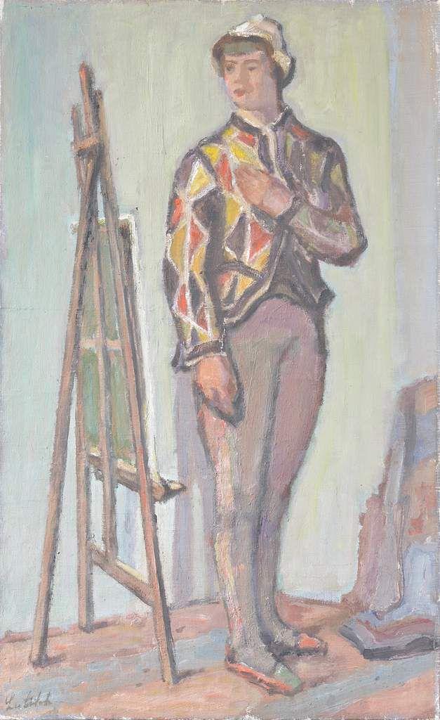 L'arlequin au chevalet, 1946 - Huile sur toile - Signée en bas à gauche - 65 x 40 cm