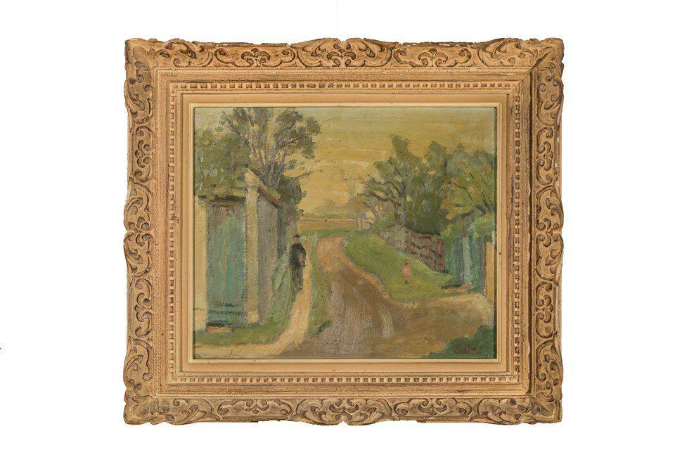 Ossip Lubitch (1896-1990) La route du village Huile sur toile Signée en bas à droite 47 x 55 cm