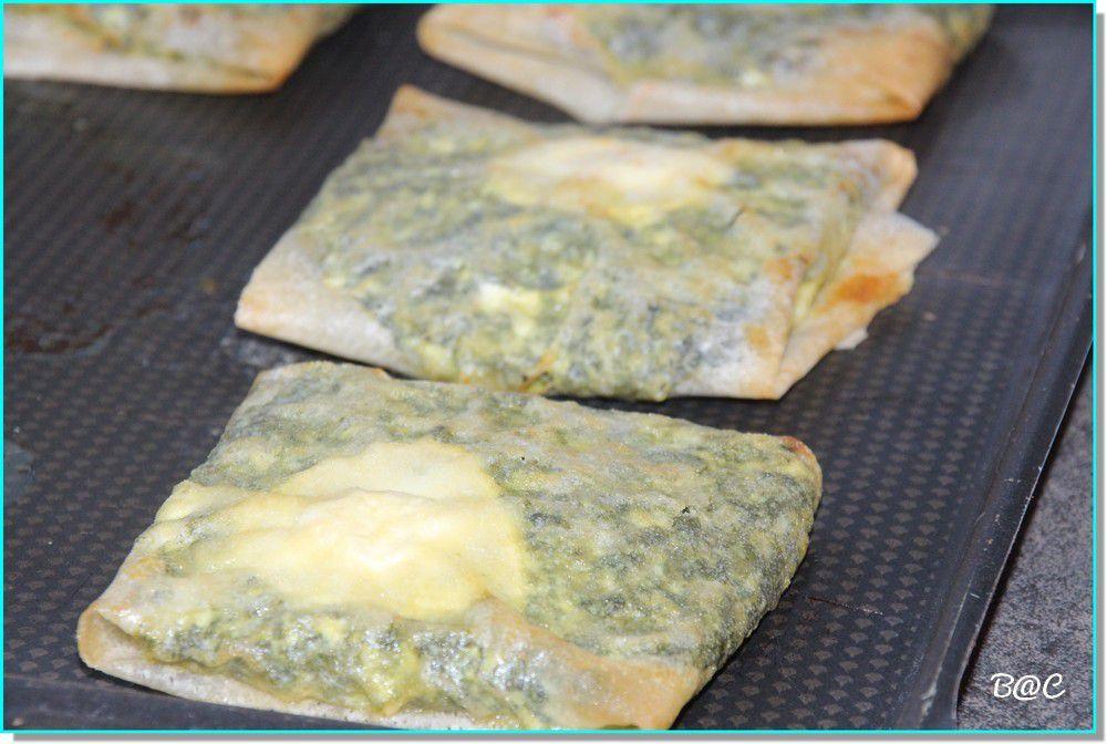 Briks au vert de blettes, brousse de brebis et fromage de chèvre