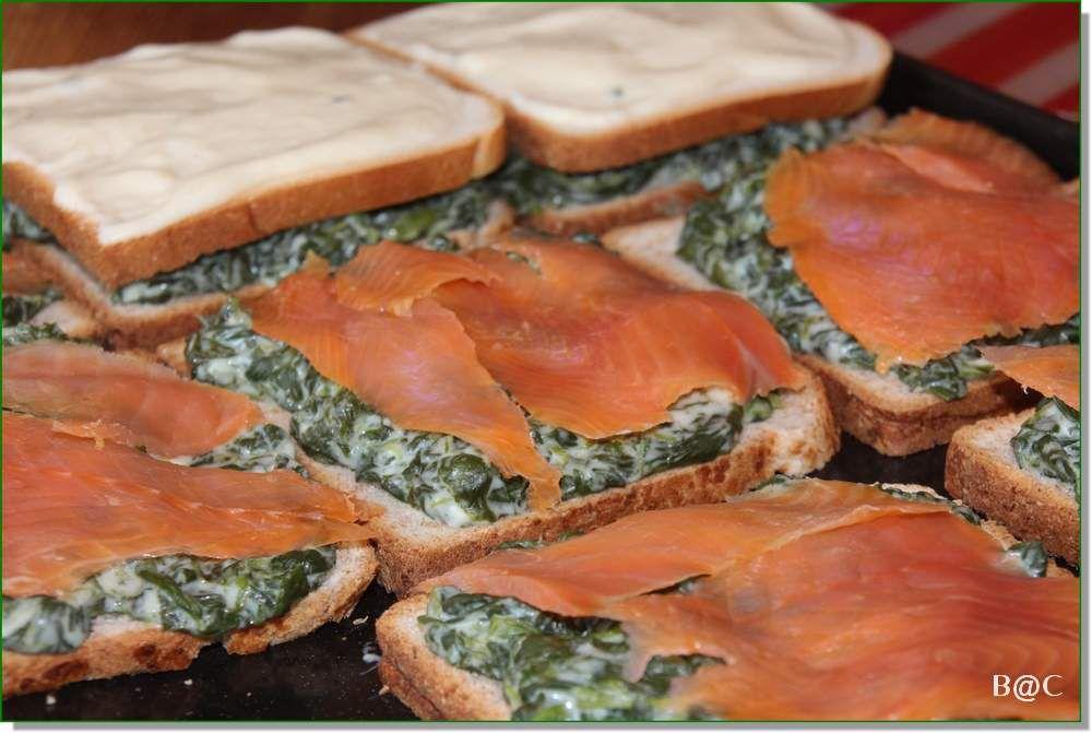 Croque-monsieur au four, épinards et saumon fumé