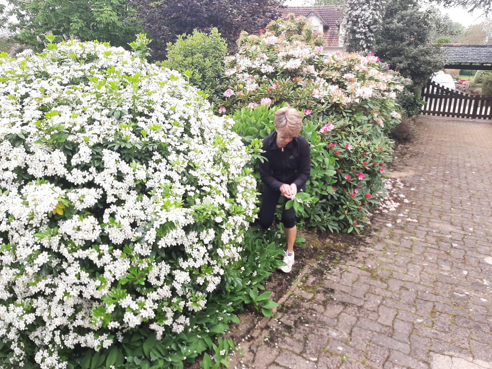 Jeanine dans son jardin d'agrément.