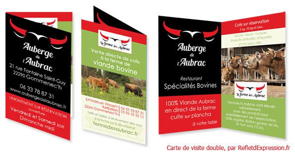 Carte de visite double, par Reflet d'Expression : conception graphique, design et impression