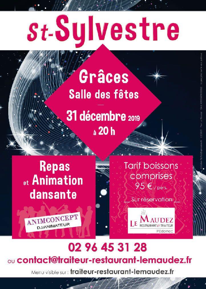 Affiche St Sylvestre Nouvel an fête repas danse