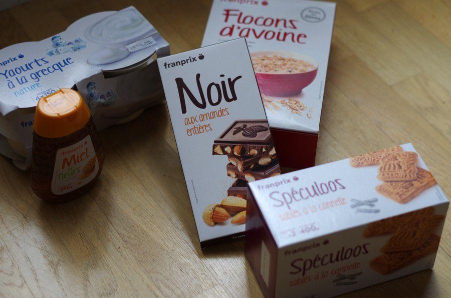 Barres de céréales chocolatée et yaourt à la banane et speculoos pour le défi Franprix