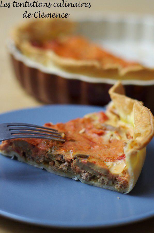 Tarte boeuf, champignons et sauce tomate