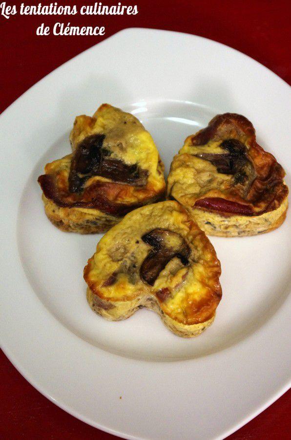 Flans aux champignons et viande des Grisons