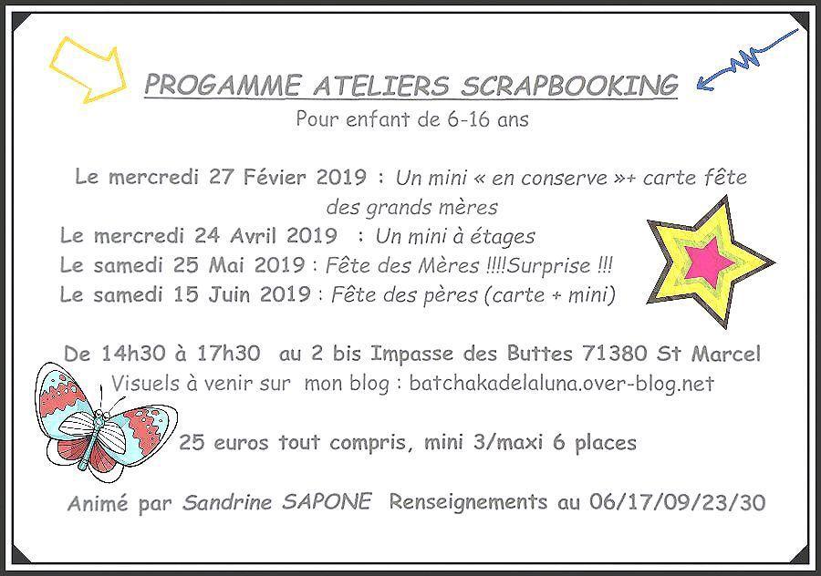 Programme 2019 des ateliers enfants