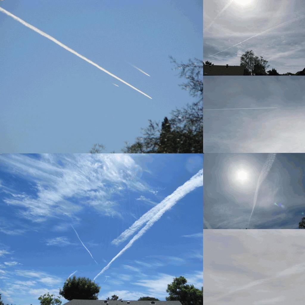 Photo en haut à gauche: Trois avions dans le même environnement physique, dont deux avec des trainées de condensation qui disparaissent rapidement par évaporation, et l'un montrant une longue traînée de particules qui s'étend à travers le ciel au lieu d'une traînée de condensation rapidement évaporée.  Photo en bas à gauche: Deux avions vaporisent des trainées dans le même environnement physique, mais l'un d'entre eux a arrêté la pulvérisation. Une trainée de condensation ne peut pas faire ça.  Photos de droite de haut en bas: Photos prises lors de jours sans nuages naturels montrant une brume particulaire due aux avions dans le ciel de San Diego, en Californie.