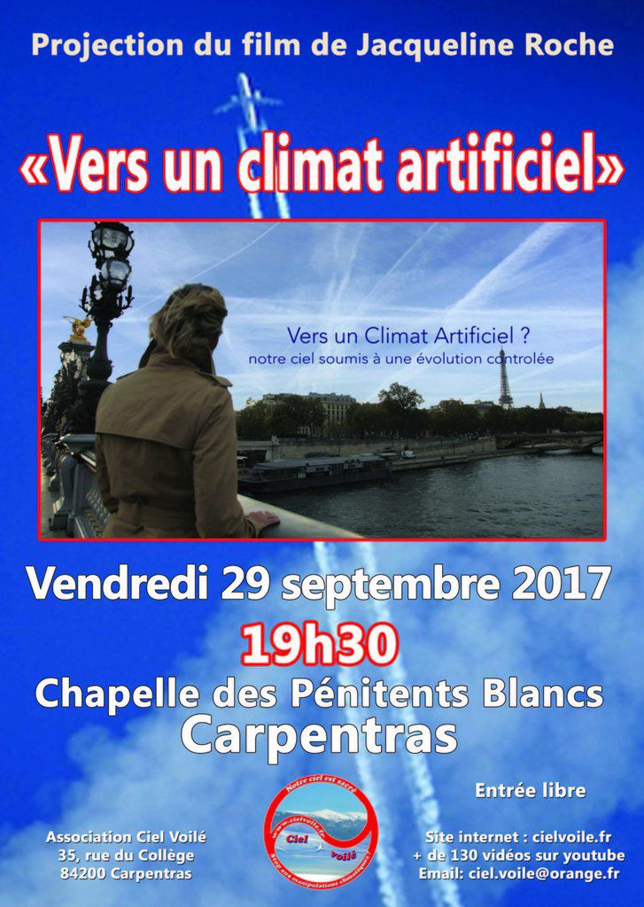 "Projection du film ""Vers un climat artificiel"" à Carpentras le vendredi 29 septembre 2017"