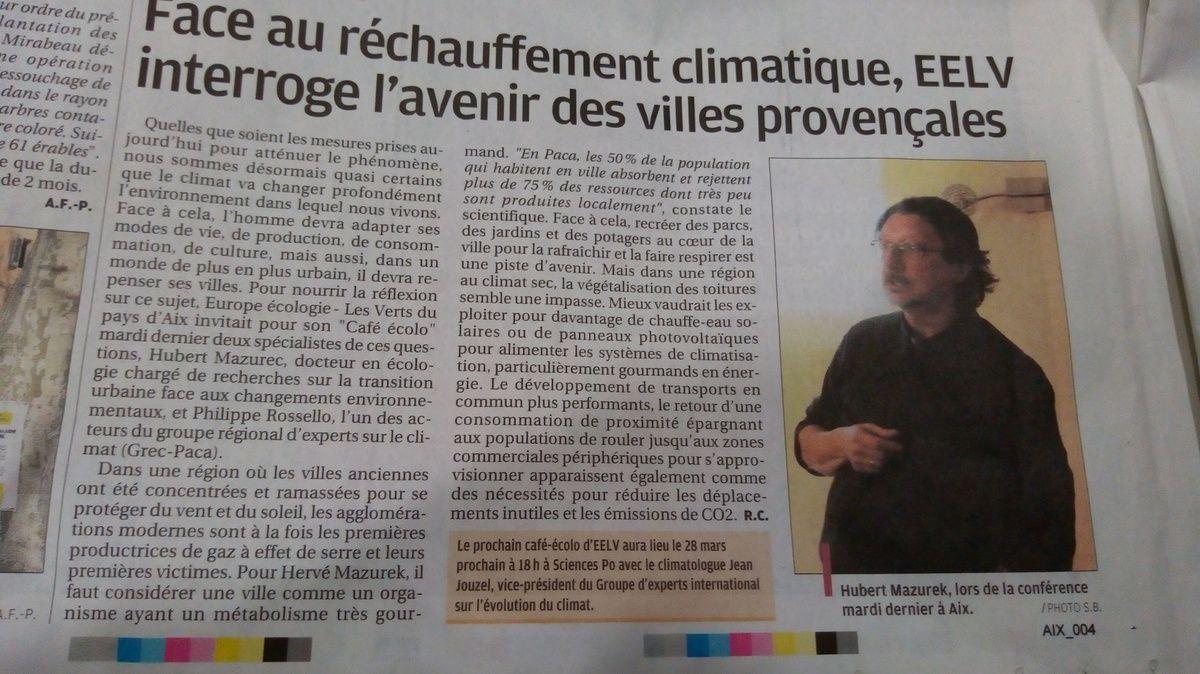 EELV invite Jean Jouzel à Aix en Provence le 28 mars 2018