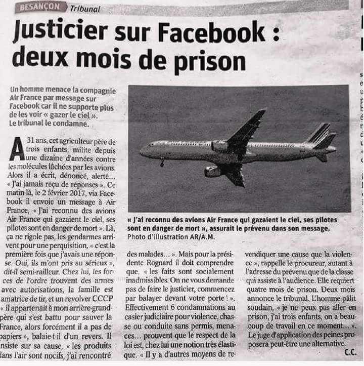 Deux mois de prison pour un homme qui menace Air France sur Face Book