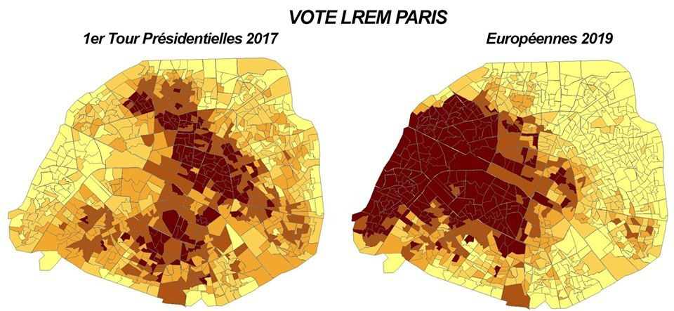 Votes de Paris en 2017 et 2019