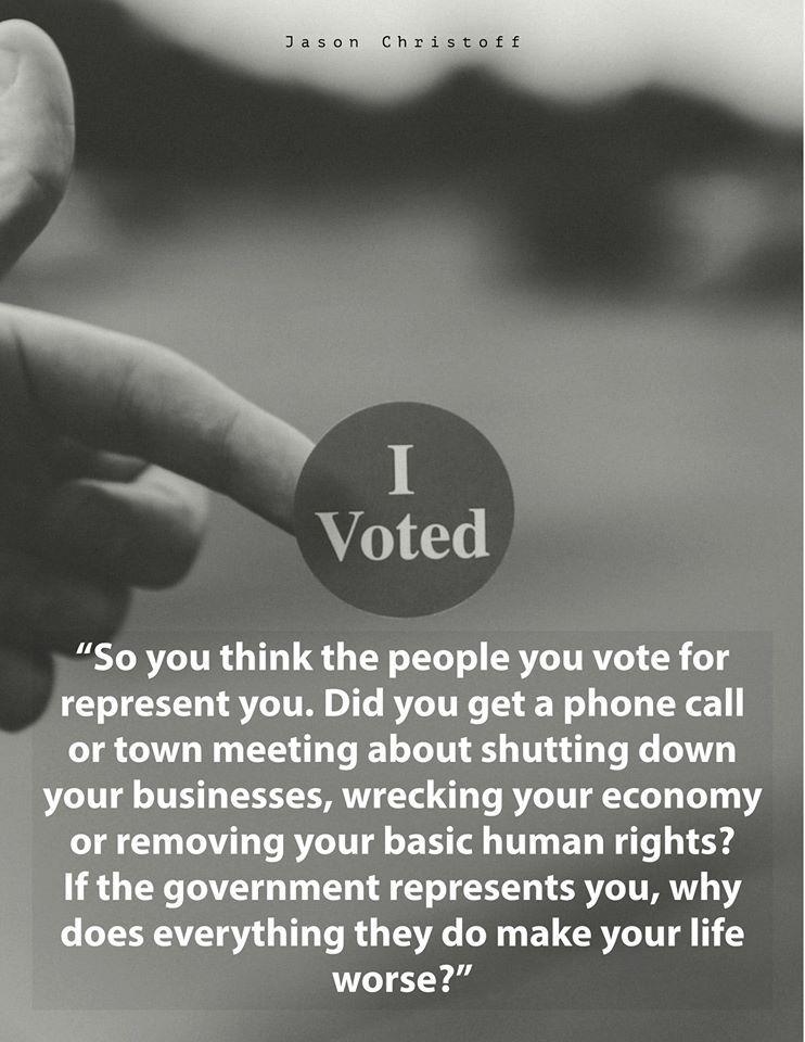J'ai voté « Donc vous croyez que les personnes pour lesquelles vous votez vous représentent. Avez-vous reçu un coup de fil ou avez-vous assisté à une réunion d'information sur la fermeture de vos entreprises, la destruction de l'économie ou la privation de vos droits humains fondamentaux? Si le gouvernement vous représente, pourquoi tout ce qu'ils font aggrave vos conditions de vie?»