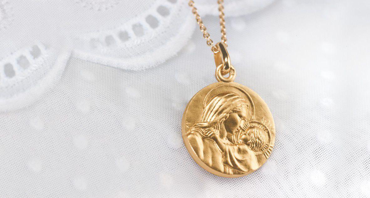 médaille de la vierge marie pour baptême religieux bébé