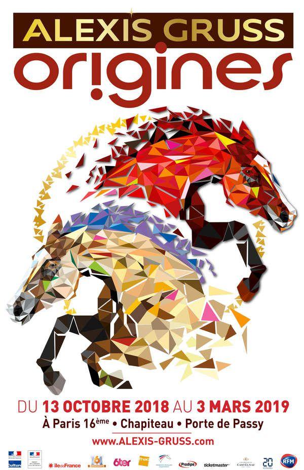 affiche officielle du nouveau spectacle équestre du cirque Alexis gruss paris Origines