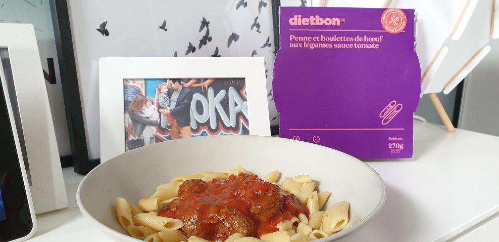 plats de pâtes de dietbon pour le programme minceur avec boulettes de viande