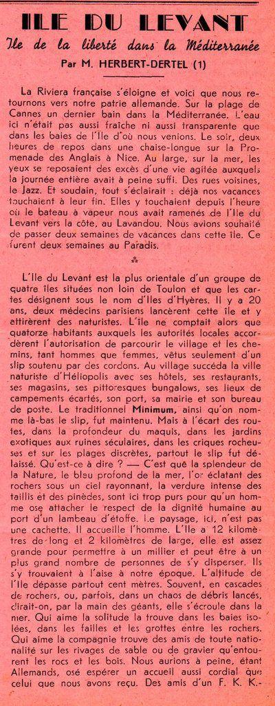 """1951 dans la revue de l'ADIL """"ÎLE DU LEVANT : île de liberté dans la Méditerranée"""""""