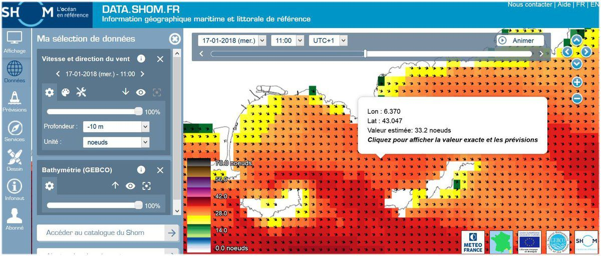 Uns situation météorologique normale pour un coup de vent de nord ouest dans la rade d'Hyères : Creux < 2 m et  35 nœuds de vent