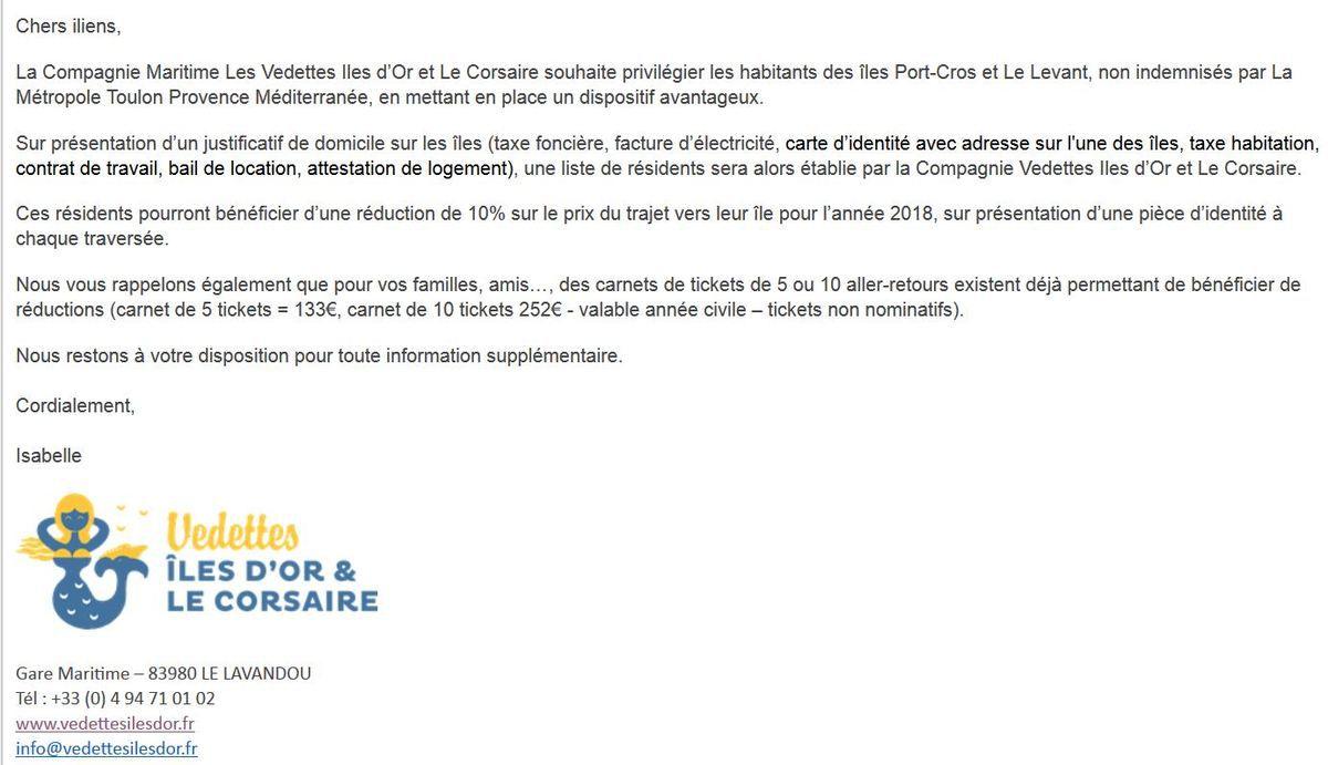 Communiqué de la compagnie maritime Iles d'Or/Le Corsaire pour les iliens