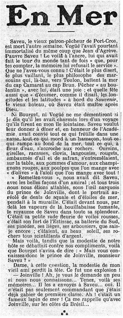 LE GAULOIS du 26 juin 1908, un article de M. COSTA