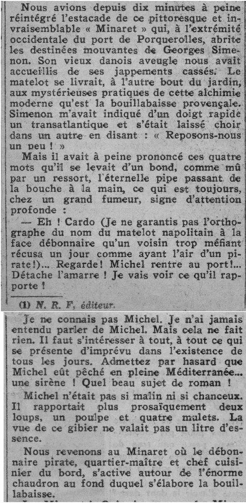 """Dans les """"Nouvelles Littéraires"""" en 1937 avec Georges Simenon 2/2"""