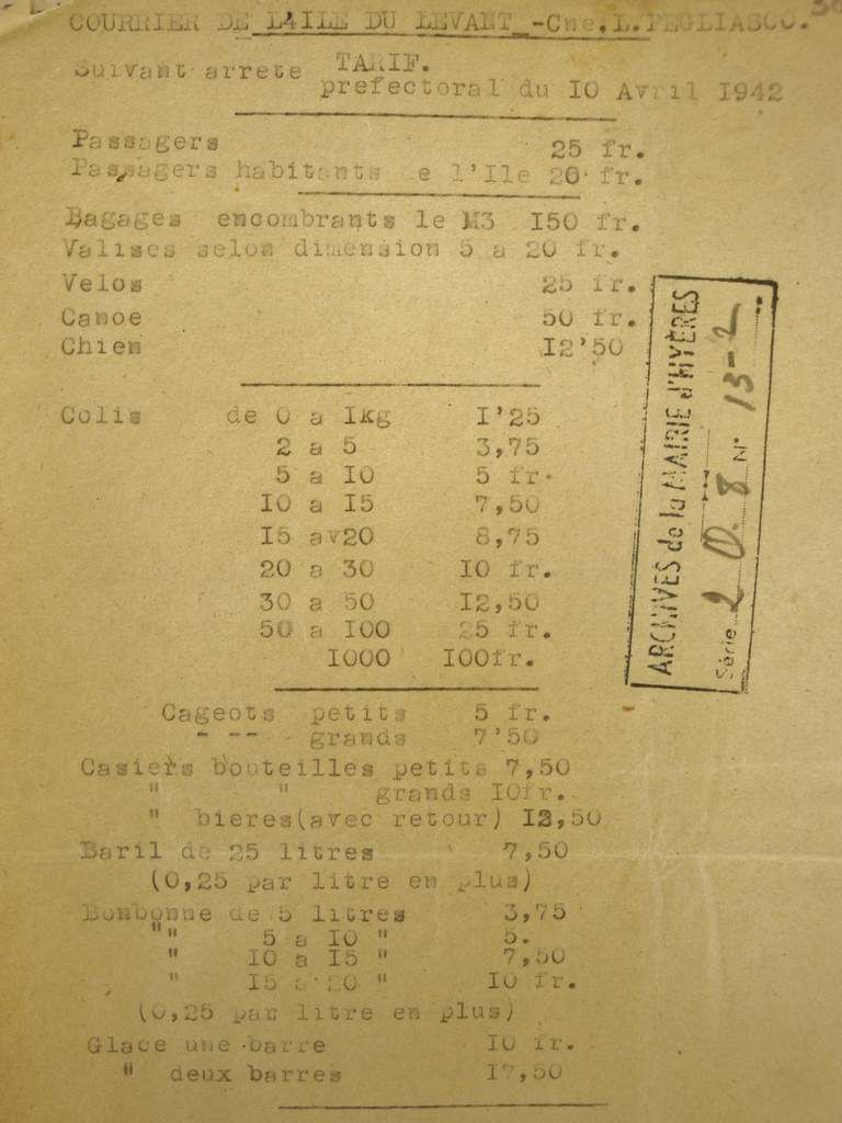 1 francs 1942 = 0,28 € - Archives Municipales d'Hyères
