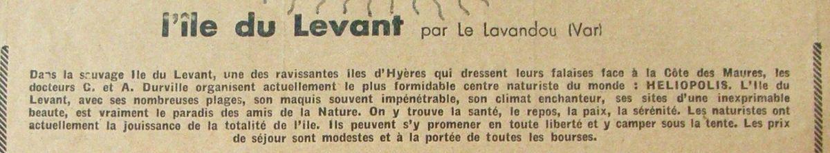 Publicité pour l'île du Levant en...1932