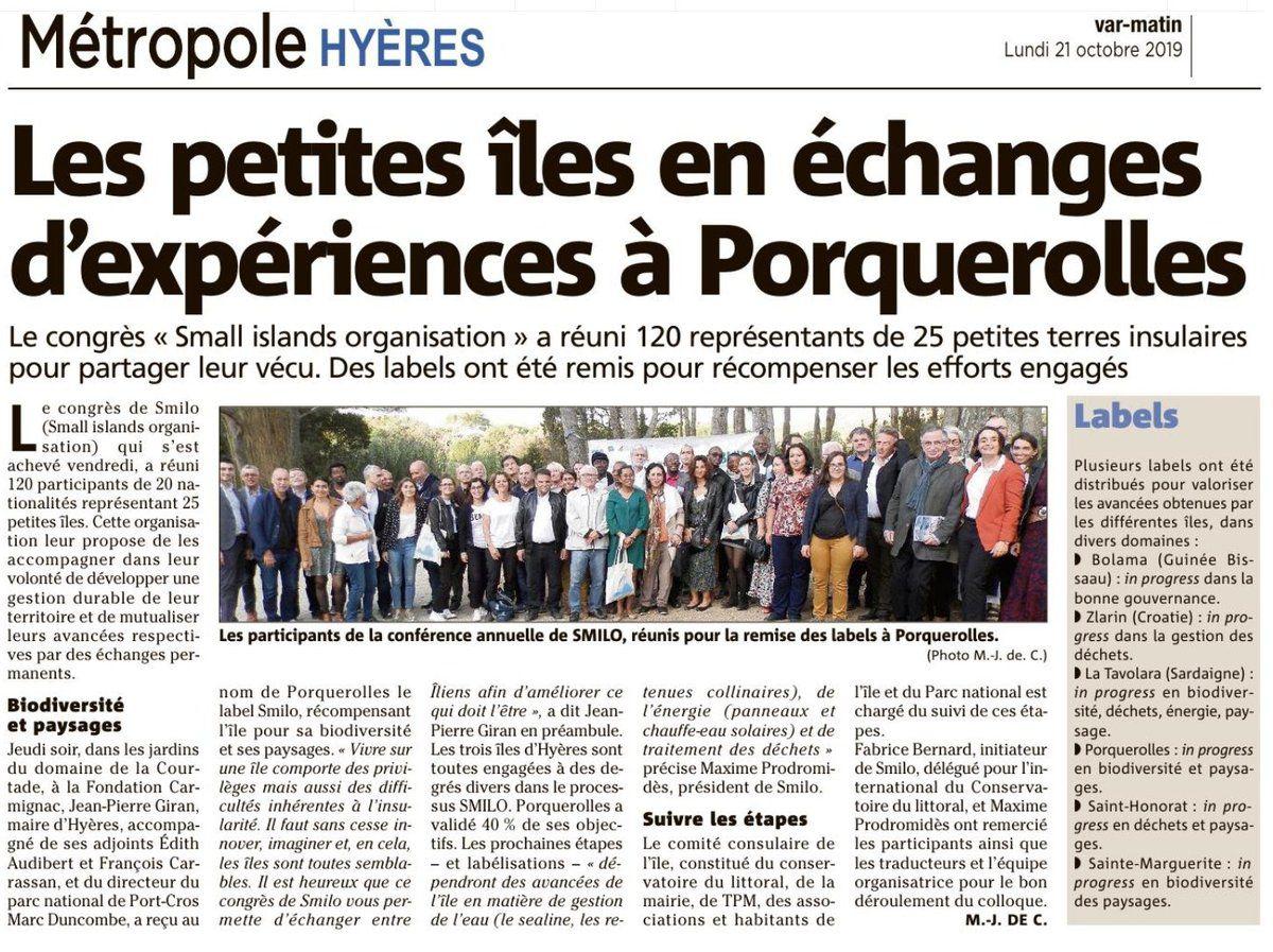 Le 16 octobre 2019 à Porquerolles : Conférence SMILO