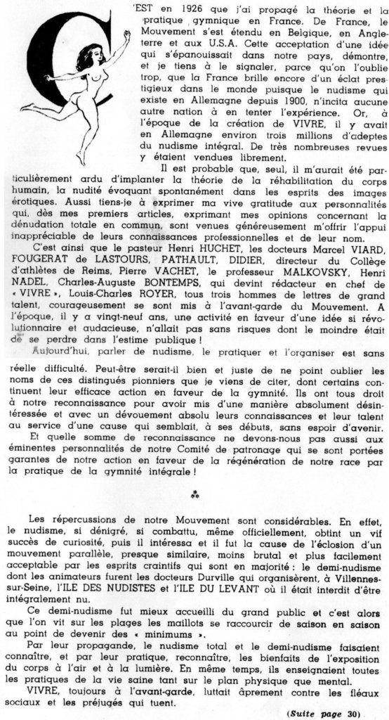 Dans la revue Vivre d'Abord ! n°43/274 de 1955