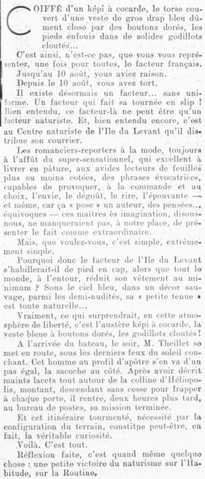 "1936 : ""Facteur sans uniforme"""