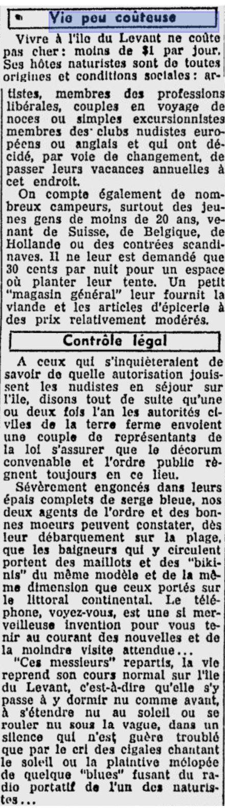 LE PETIT JOURNAL de Montréal en 1954 : 5 000 nudistes au Levant !